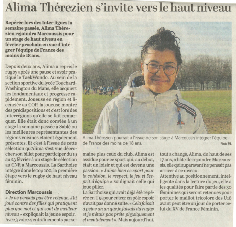 Article Ouest France, Alima en TOP 100 U18
